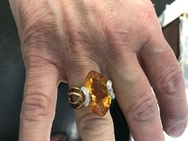 14kt gold with citrine and diamonds-white and multi colored