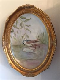 Porcelain concave framed and hand painted