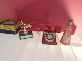 vintage  red  bell  gong  phone