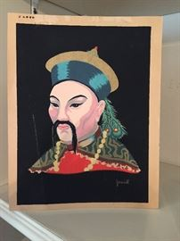 Vintage Serigraph of Manchurian man by J. Riedell