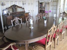 Large Dining Table with 20 shell carved Chippendale style chairs.