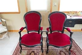 Beautiful Red Velvet Antique Parlor Chairs