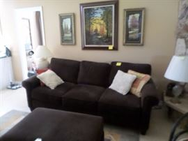 Chocolate Brown Sofa with matching large square ottoman opens for storage  Set $ 395