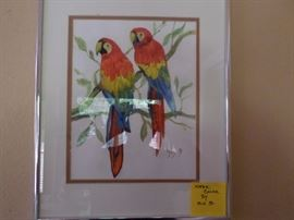Parrots in Silver Frame