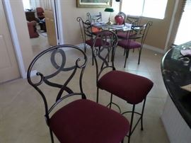 Iron Bar Stools- $ 75 pr., Background matching dinette glasstop table with 4 chairs $ 150