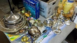 silver plate and brass