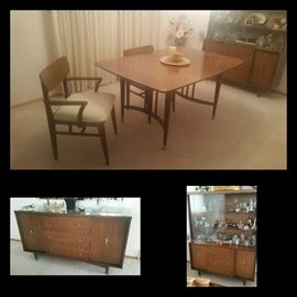 Pristine MCM Table, Four Chairs, Buffet and China Cabinet