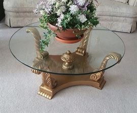Gold and glass top coffee table