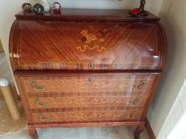 beautiful inlaid walnut secretary from Germany