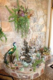 Fountain decorations - metal birds, ceramic frogs, etc.