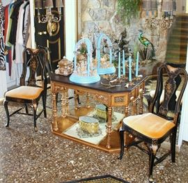Black / gold chairs and console table