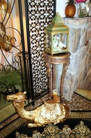 Gilt plant stand, large jeweled gold camel