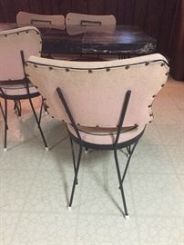 1950s kitchen table with six chairs pink