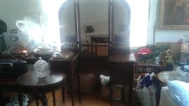 vintage tables, end tables, hall tables and vanity