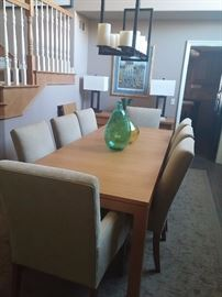 Ethan Allen dining room table and chairs with matching sideboard
