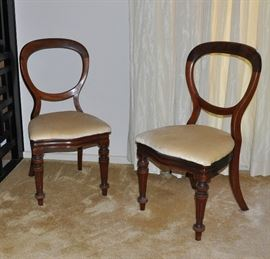 Pair of antique English balloon back chairs