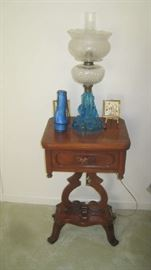Davis Cabinet  Lillian Russell lyre night stand with lamp