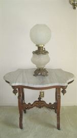 Marble top table, Gone with the Wind lamp