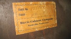 Davis Cabinet label behind chest- probably from the 1940s