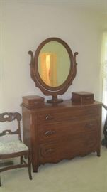 Davis Cabinet Lillian Russell dresser with wishbone mirror  and side chair