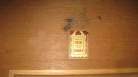 Davis Cabinet label in dresser drawer from the 1940s