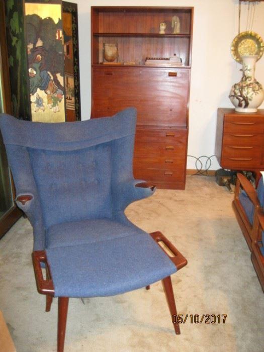 Hans J. Wegner Wing -Chair and footstool purchased in Denmark, Copenhagen at Anton Dam