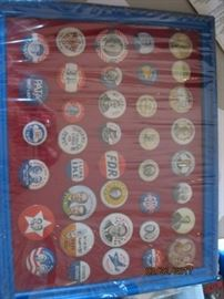 Collection of political pin backs, originals and reproductions