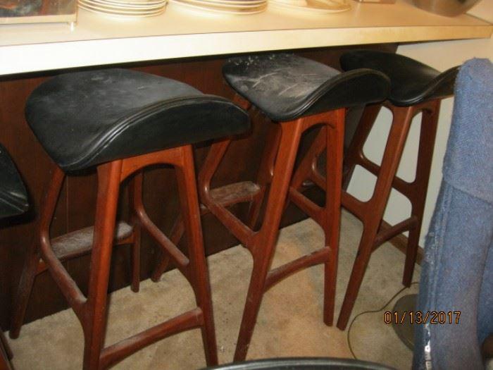 "Erik Buck 'Mobler' bar stools, teak, 17 1/2"" X 15 1/2' X 30"""