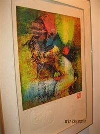 Vietnam artist, Le badang, colored lithograph #147/195 with Remarque and embossed water buffalo