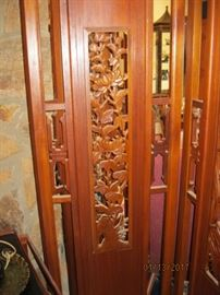 Teak Asian screen with open carved bamboo panels