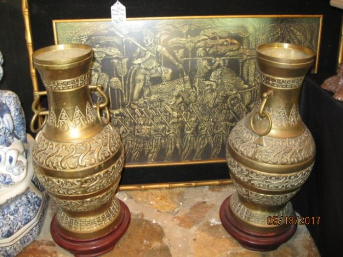 Pair Bronze Urns, a brass etching is shown in the background.