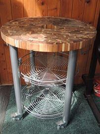 Vietnamese wood top rolling table