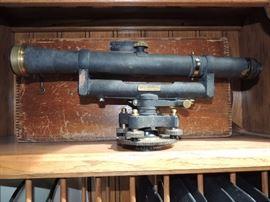 Antique survey equipment with box