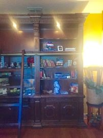 Fabulous Phillipe Langdon st James 3 section cherry library with ladder. Excellent condition. Retails new $15,000