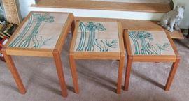 3 Stacking Tile Top Teak Tables