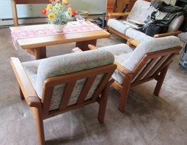 Pair Danish Chairs & Loveseat Modern Style Teak