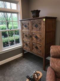 GORMAN'S LARGE WARDROBE CABINET- WOOD WITH METAL ACCENTS- -ASKING $600