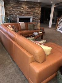 GORMAN'S COGNAC LEATHER & MAHOGANY FEET SECTIONAL WITH RIGHT SIDE CHASE LOUNGE - ASKING $3,500 EXCELLENT CONDITION BARELY USED PAID $7,575 -PURCHASED IN 2013