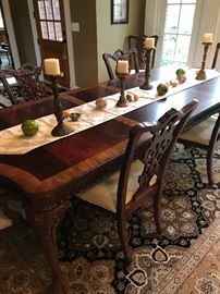 ROSEWOOD & MAHOGANY FORMAL DINING TABLE WITH BALL & CLAW FEET  4-8 SEATING-ASKING $5,000 GREAT CONDITION INCLUDES: 2 LEAVES 6 CHAIRS (2 CAPTAIN CHAIRS WITH ARMRESTS & 4 REGULAR) PURCHASED AT GORMAN'S MSRP $9,870