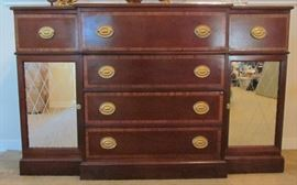 """Theodore Baumitter Furniture  Vintage Mahogany Buffet,  Top center drawer drops down for additional serving space.  Original condition.  Lower side cabinets with mirrored doors(57""""W x 37.5""""H x 16.5"""" center depth)"""