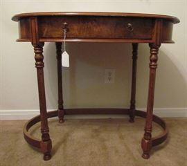 Vintage Oval Writing Desk with Burl Walnut and Oak Veneers.