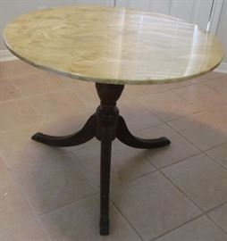 Marble Top Table with Duncan Phyfe Pedestal Splatted Leg Base