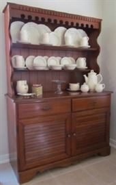Vintage 1962 China Hutch. Plate Shelf  Hutch over Double Louvered Door/Double Drawer Cabinet