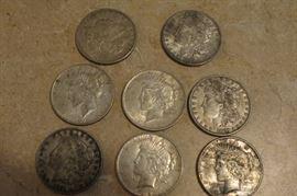 8 silver dollars.