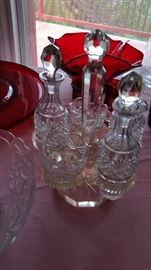 Rare ALL CRYSTAL trivet set