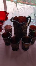 Rare Northwood Grape and Cable Pitcher and Glass Set