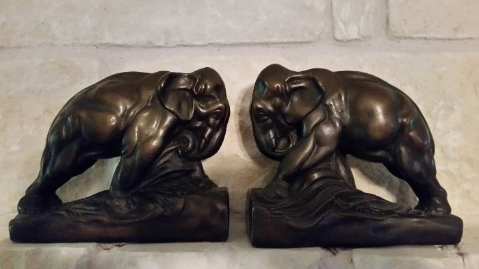 RARE RARE One of a Kind Bronze Elephant Bookends- Signed and according to old note on bottom, once owned by Confederate Colonel Delaware Kemper