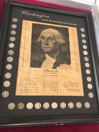 Framed silver quarters