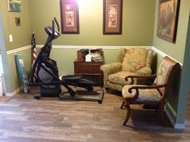 Elliptical fitness equipment, trunk on stand bamboo style, Club chair, armchair with Palm tree upholstery (one of two)