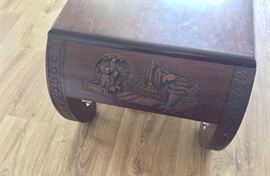 Beautiful carved wood coffee table.